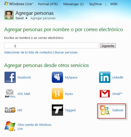 Importar correos Hotmail para poder tener nuestros clientes en facebook