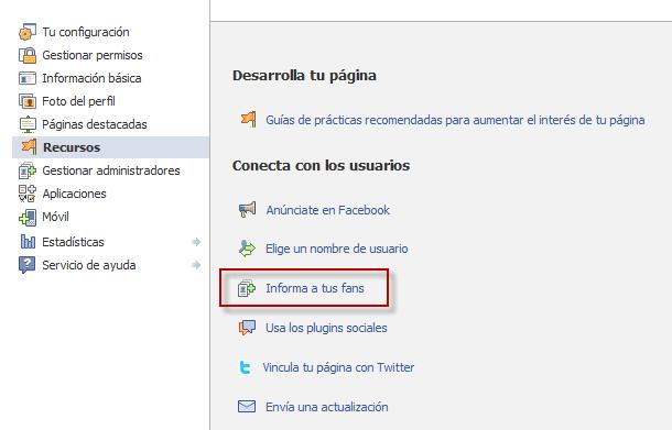 Edición página de facebook, primer paso para añadir nuestros clientes a facebook