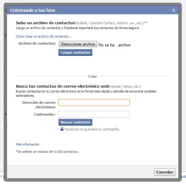 Cargar contactos, segundo paso para añadir nuestros clientes a facebook