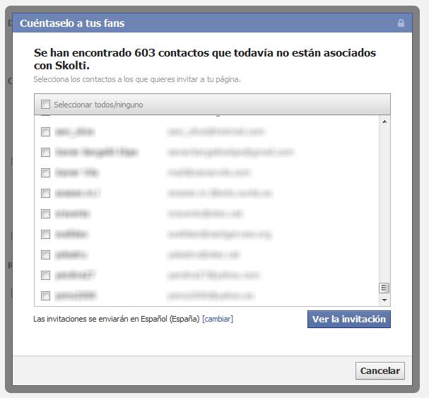 Seleccionar contactos, tercer paso para añadir nuestros clientes a facebook