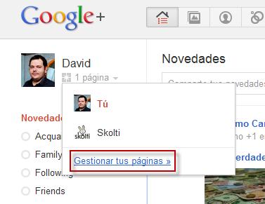Gestionar página Google+