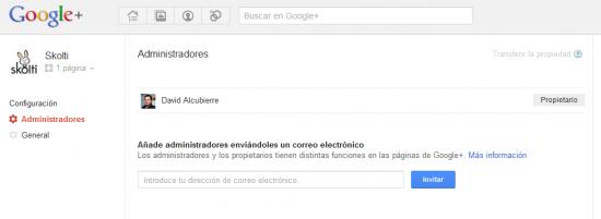 Añadir administradores Google+