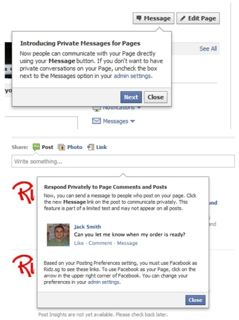 Facebook Private Message Option