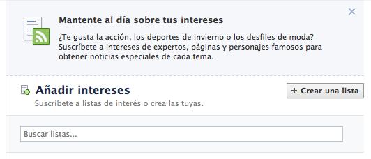 listas de intereses en facebook