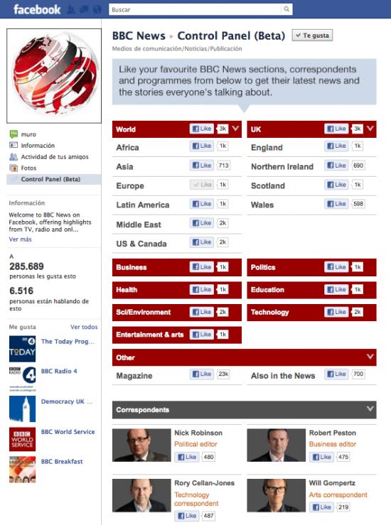 BBC Facebook Control Panel