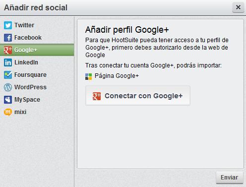 Google+ en Hootsuite
