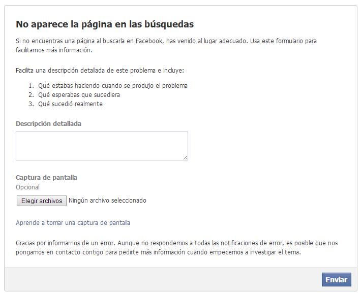 página no aparece en búsquedas de facebook