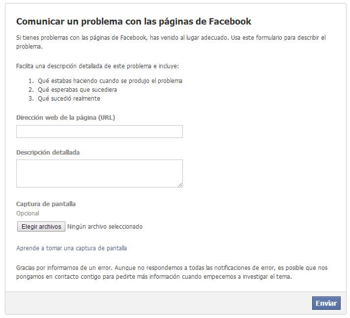 problemas con página de facebook