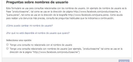 problemas username facebook