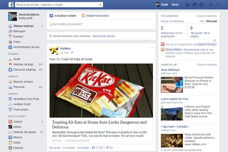 novedades de facebook