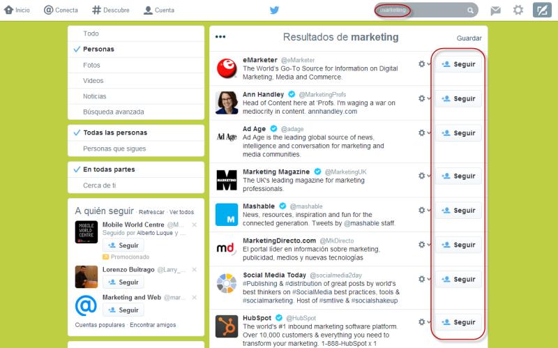 listado búsqueda en twitter