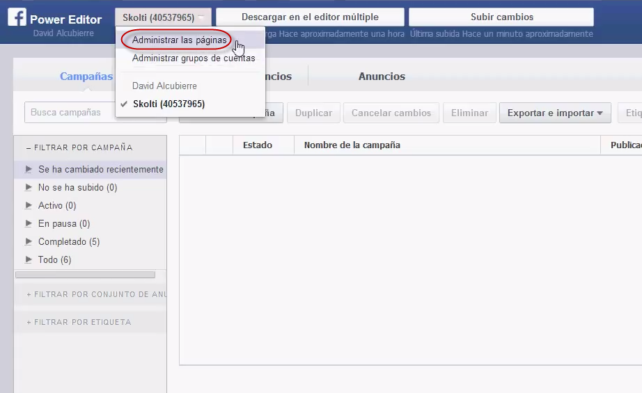 facebook call to action: administar páginas