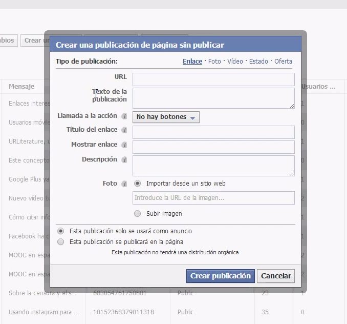 facebook call to action: crear publicación
