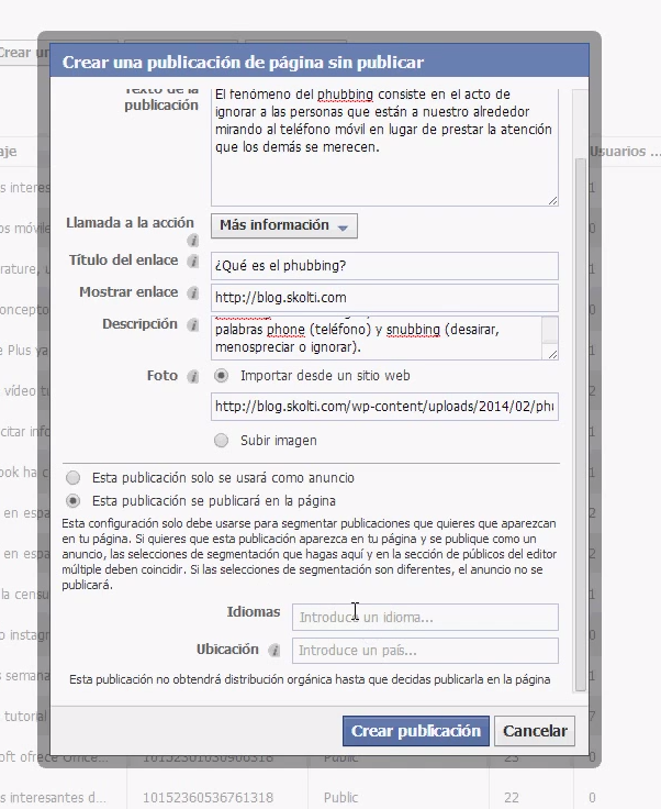 facebook call to action: formulario