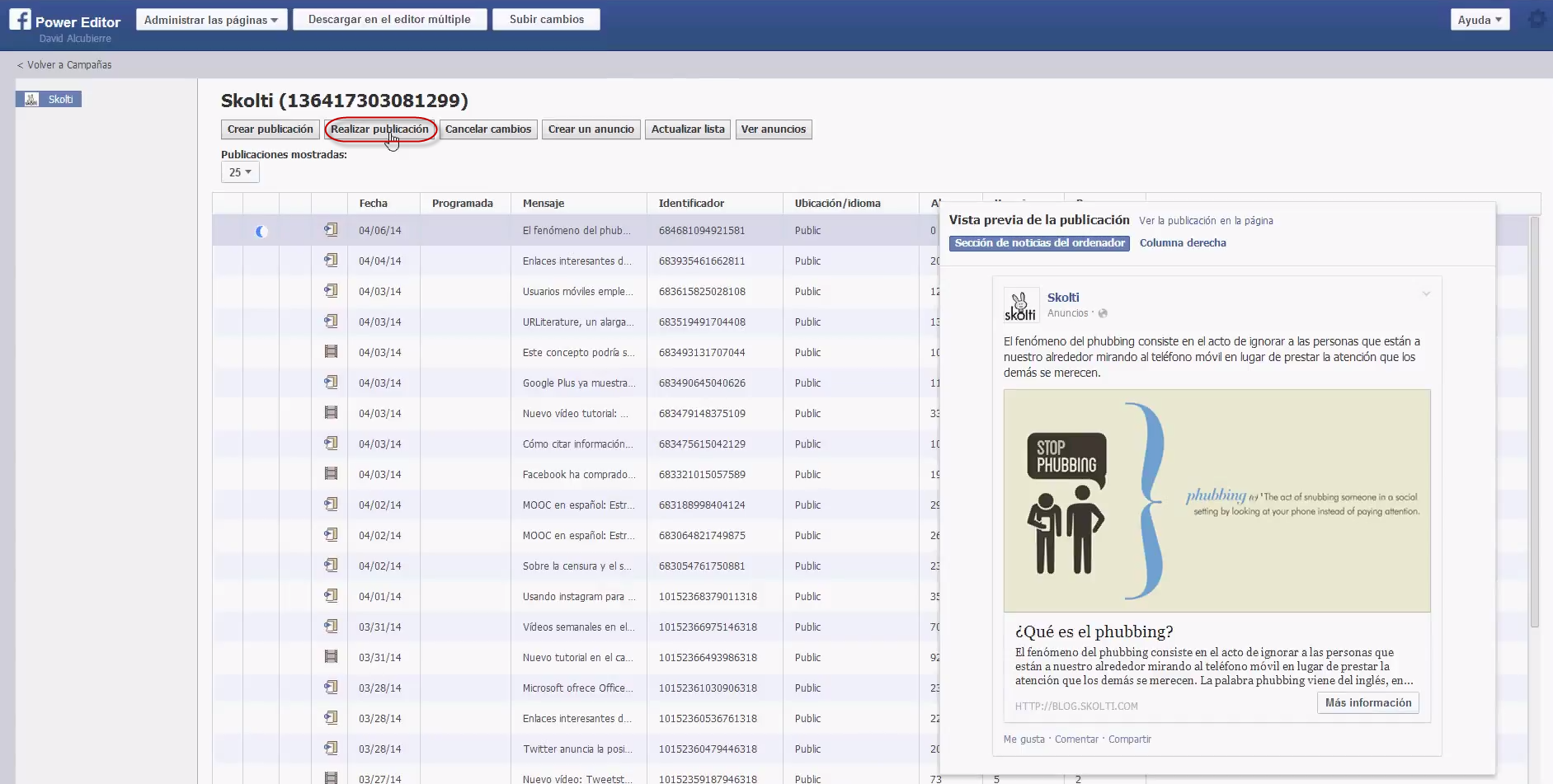 facebook call to action: realizar publicación