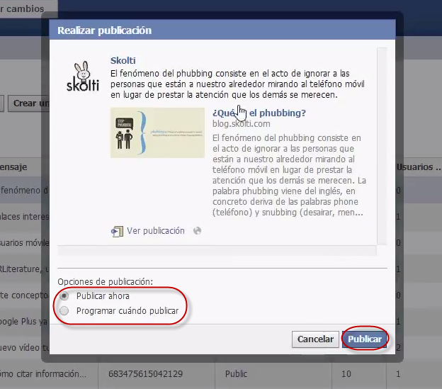 facebook call to action: publicar