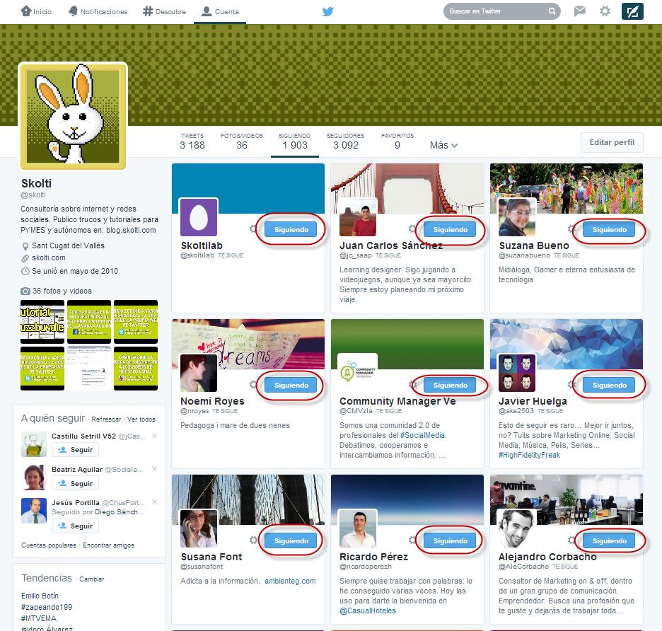 listado de usuarios en twitter