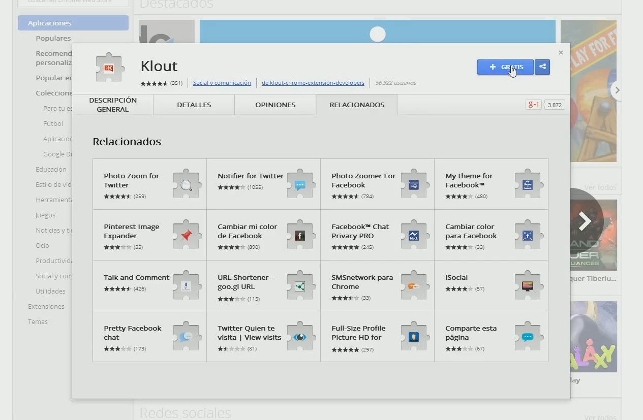 Klout para Google Chrome
