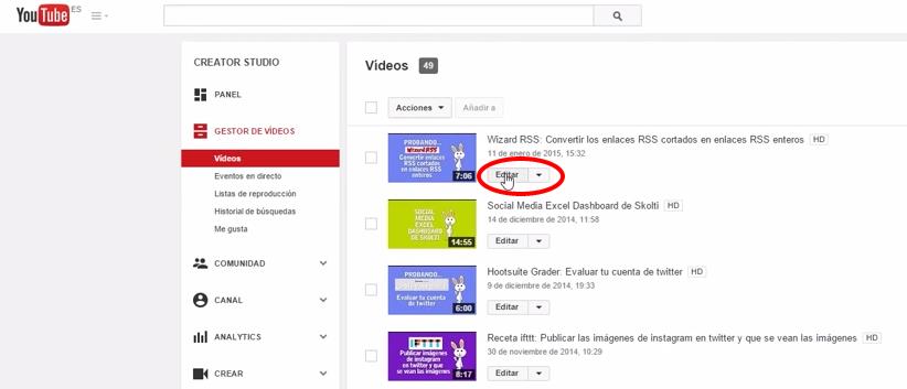 lista de vídeos