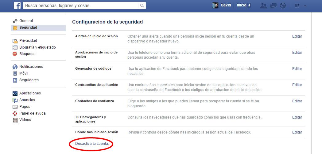 Configuración de la seguridad de Facebook