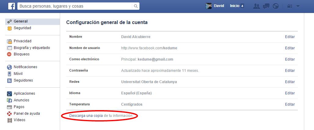 Configuración general de la cuenta de facebook