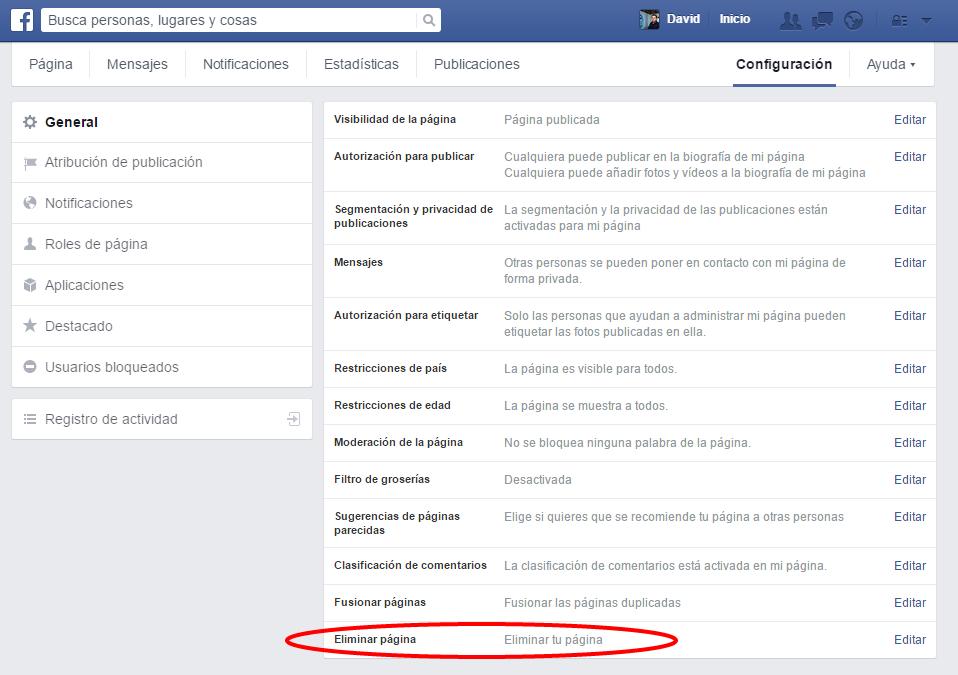 Eliminar pagina de facebook