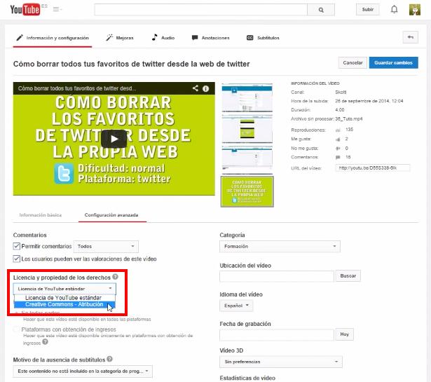 seleccionar licencia de vídeo Creative Commons