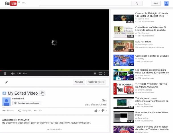 página de vídeo de youtube