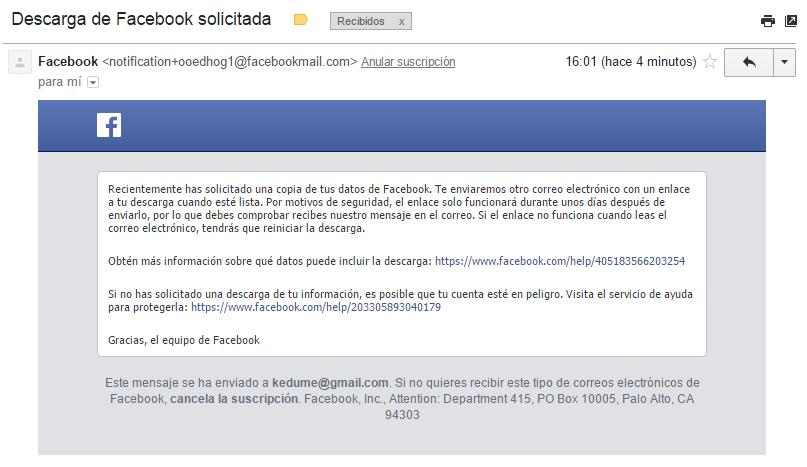 correo de facebook sobre descarga de información