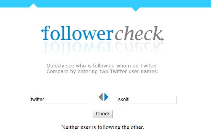 followcheck nos dice si dos usuarios de twitter se siguen