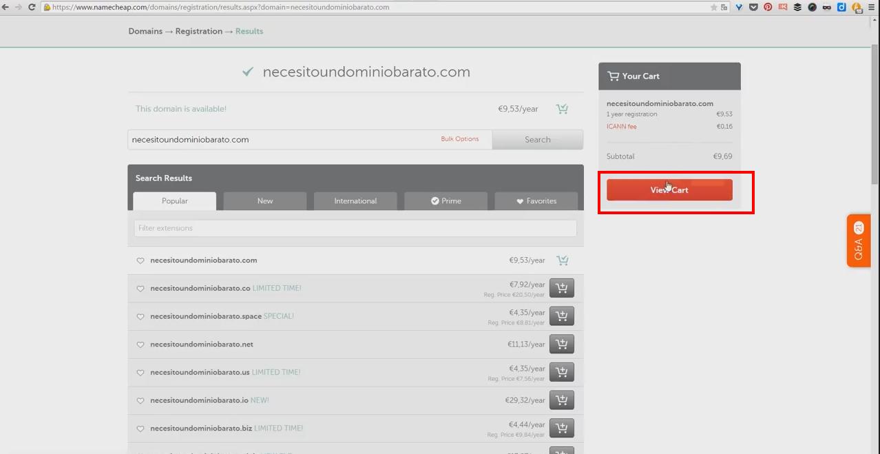 Proceso de compra de dominio en Namecheap