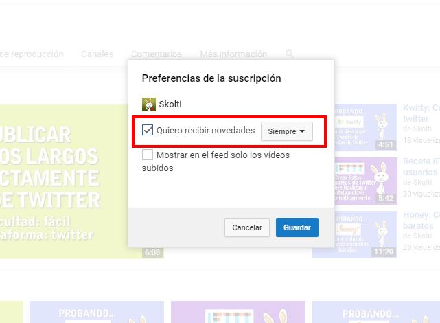 opción recibir email en youtube