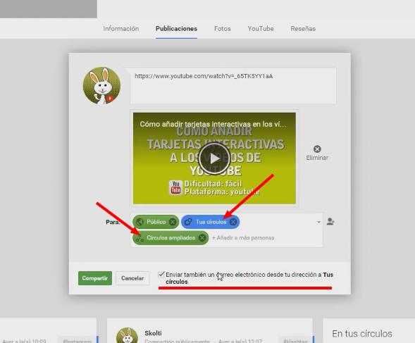 Publicar vídeo en Google+