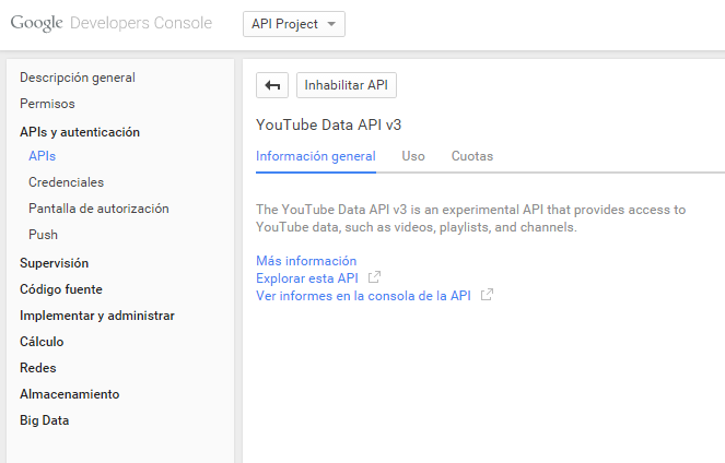 Youtube API vuelta