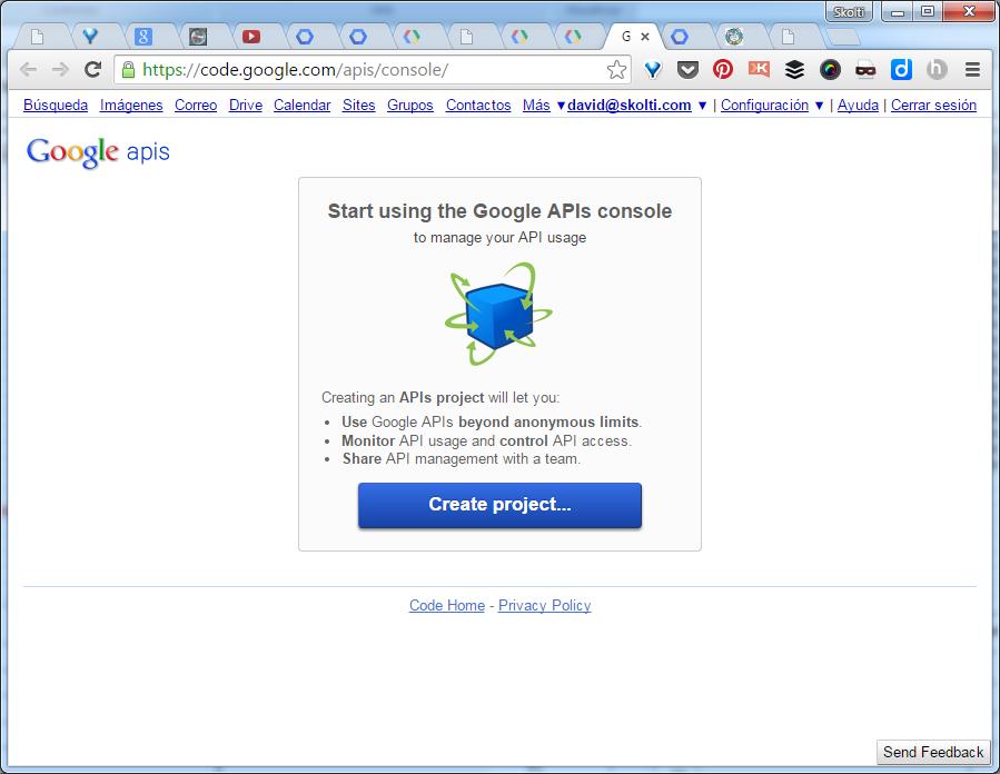 Google API console