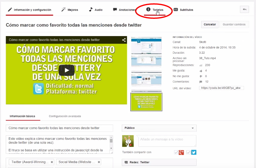 tarjetas interactivas en youtube